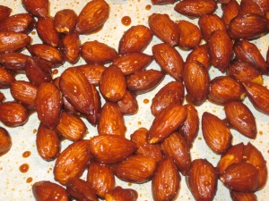 Roasted spiced almonds.