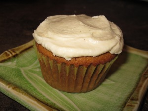Gingerbread cupcake with vanilla bean frosting.