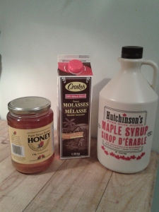 Honey, Molasses and Maple Syrup, some yummy sweeteners!