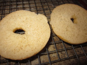 The dense crumb of the bagels - chewy texture and great flavour!